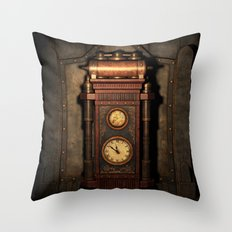 Steampunk Generator Bronze Throw Pillow