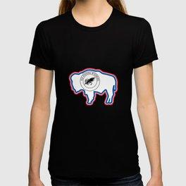 Wyoming Fly Fishing Hook Flag Bison T-shirt