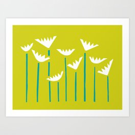 Chartreuse, Teal and White Tropical Plants Art Print