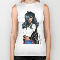 rihanna Biker Tanks featuring Rihanna by Armand Mehidri