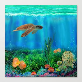 UnderSea with Turtle Canvas Print