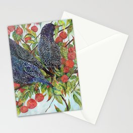 Starlings dogwood berries leaves branches Stationery Cards