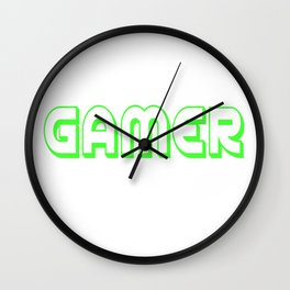 Video Game Gamer font green saying gift online Wall Clock