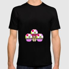 Cute Monster With Pink And Purple Polkadot Cupcakes MEDIUM Mens Fitted Tee Black
