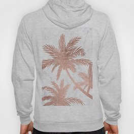 Tropical simple rose gold palm trees white marble Hoody