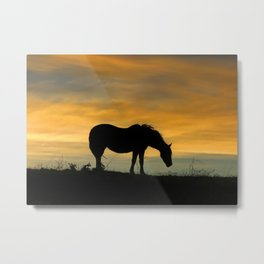 End of the Trail, Horse in Sunset Metal Print