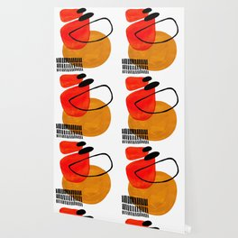 Mid Century Modern Abstract Vintage Pop Art Space Age Pattern Orange Yellow Black Orbit Accent Wallpaper