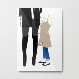 Fashion Trench Girl with Bubbles Metal Print