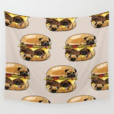 Pugs Burger Wall Tapestry