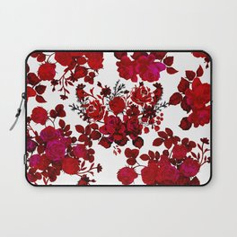 Botanical romantic red black elegant roses floral Laptop Sleeve