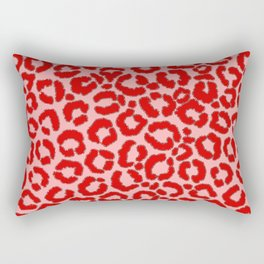 Bold Modern Red Pink Leopard Animal Print Rectangular Pillow