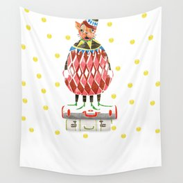 Cat In A Hat On A Suitcase Stack Wall Tapestry