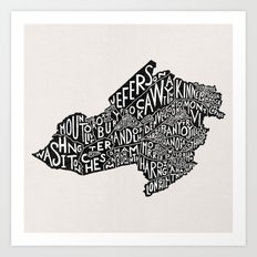 Morris County, New Jersey Map Art Print