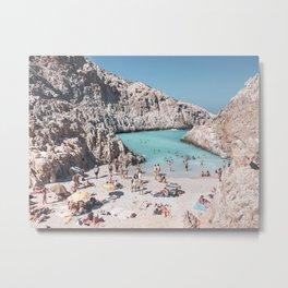 Summer Seitan Limania Beach Day on a Greek Island in Greece   Travel Photography   Beach Photography Metal Print