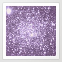 Lilac Galaxy Sparkle Stars Art Print