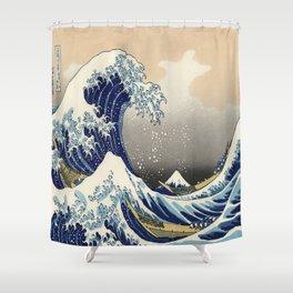 seascape painting japanese ukiyo e art the great wave off kanagawa Shower Curtain