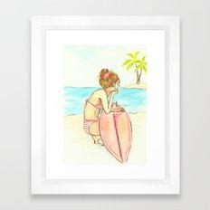 Surfer Girl Watercolor Framed Art Print