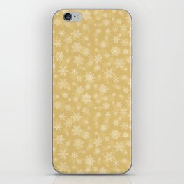 Christmas Gold,white Snowflakes SB4 iPhone Skin