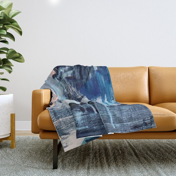 Vibes: an abstract mixed media piece in blues and pinks by Alyssa Hamilton Art Throw Blanket