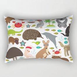 Animals Australia. Echidna Platypus ostrich Emu Tasmanian devil Cockatoo parrot Wombat snake turtle Rectangular Pillow