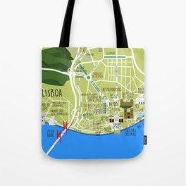 Lisboa map illustrated Tote Bag