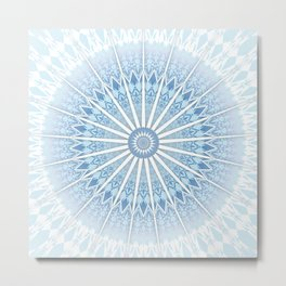 Pale Blue Mandala Metal Print