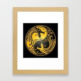 Yellow and Black Yin Yang Dragons Framed Art Print