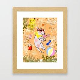 beach bullterrier Framed Art Print