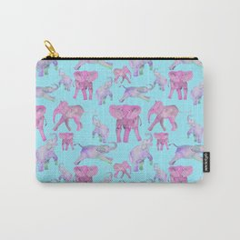Pink and Lavender Elephants Carry-All Pouch