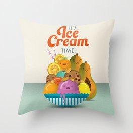 Ice Cream Craze Throw Pillow