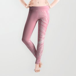 Millennial Pink illumination of Heart White Tropical Palm Hawaii Leggings