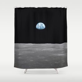 Earth rise over the Moon Shower Curtain