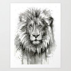 Lion Watercolor Animal Art Print