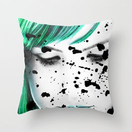 Beauty Woman Looking down Close Up Artistic Portrait Throw Pillow