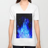 castle in the sky V-neck T-shirts featuring Enchanted Castle by Whimsy Romance & Fun