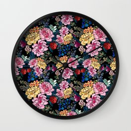 stylish winter flowers bouquets illustration Wall Clock