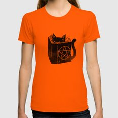 Witchcraft Cat Womens Fitted Tee SMALL Orange