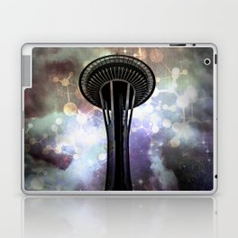 Space Needle - Seattle Stars and Clouds at Night Laptop & iPad Skin