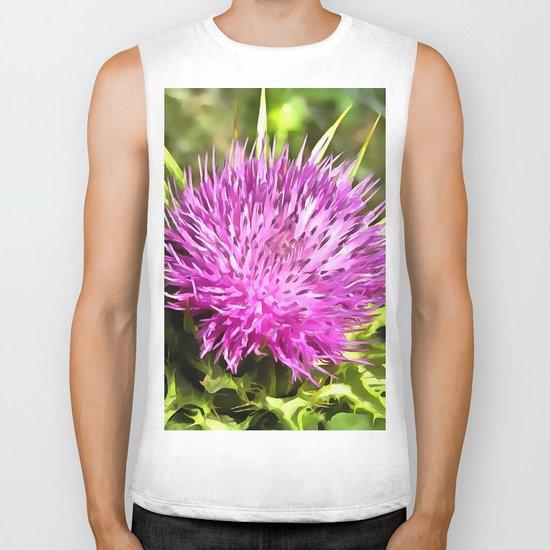 Purple Thistle Wildflower Biker Tank