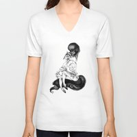 catwoman V-neck T-shirts featuring catwoman by vasodelirium