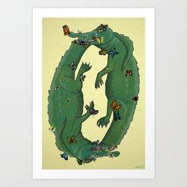Lachryphagy - butterflies and crocodile tears Art Print
