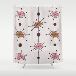 Atomic Era Satellites Pink Shower Curtain