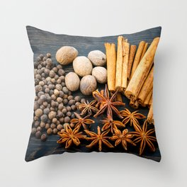 Whole Spices on a Dark Wood Background Throw Pillow