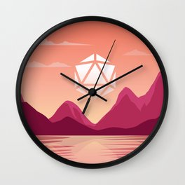 Pink Sunset by the Lake D20 Dice Sun Tabletop RPG Landscape Wall Clock