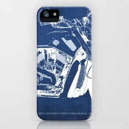 Blue motorcycle blueprint, HD VRSCF V-Rod Muscle,white line,home decor,man office, man cave decor iPhone Case