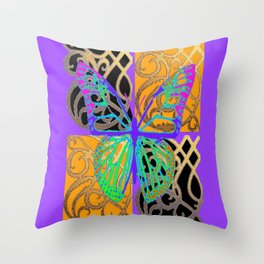 Lavender-Gold Turquoise Butterfly Throw Pillow