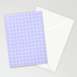 Lavender blue - heavenly color - White Lines Grid Pattern Stationery Cards