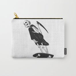 Grim reaper skater - funny skeleton - gothic monster - black and white Carry-All Pouch