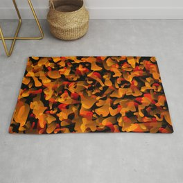 Chaotic bright on the dark of spots and splashes of orange colors. Rug