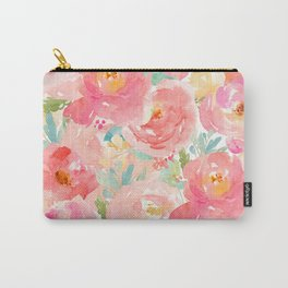 Preppy Pink Peonies Carry-All Pouch
